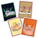 Celestial Cats - Greeting Card Set