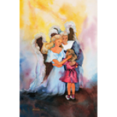 Girl With Angels Art Print